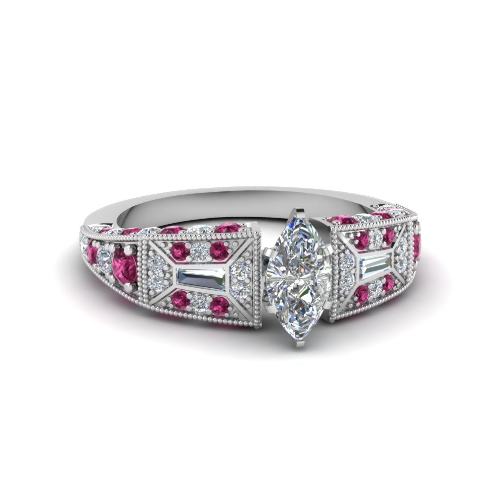 marquise cut victorian vintage style diamond engagement ring with pink sapphire in FDENR8601MQRGSADRPI NL WG