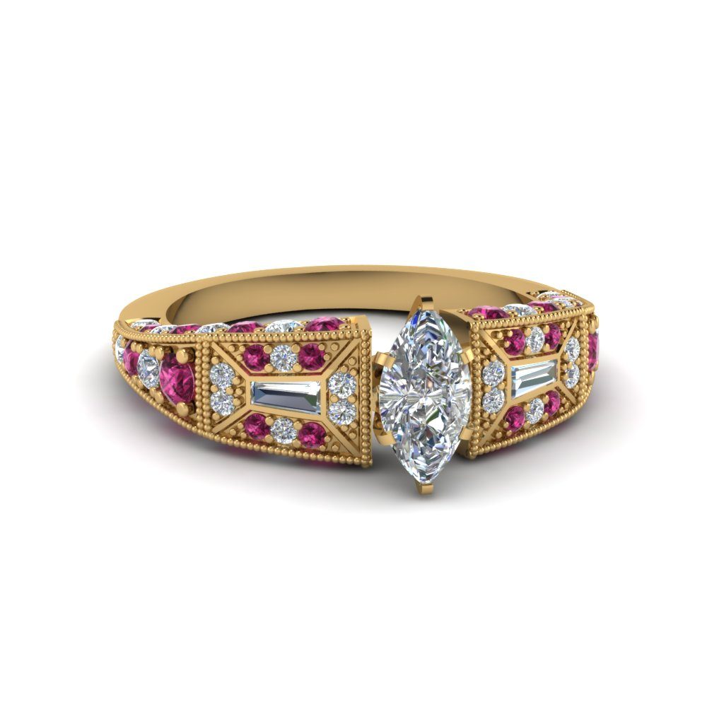 marquise cut victorian vintage style diamond engagement ring with pink sapphire in FDENR8601MQRGSADRPI NL YG