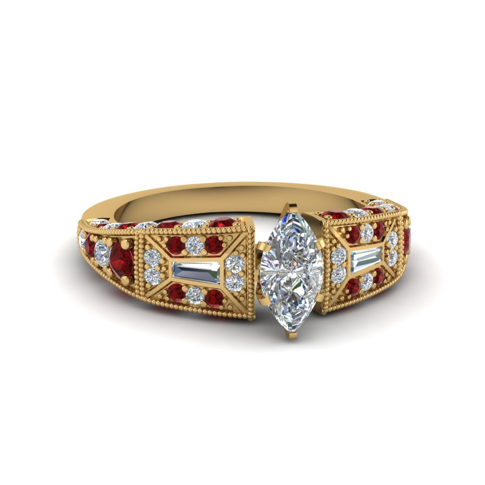 marquise cut victorian vintage style diamond engagement ring with ruby in FDENR8601MQRGRUDR NL YG
