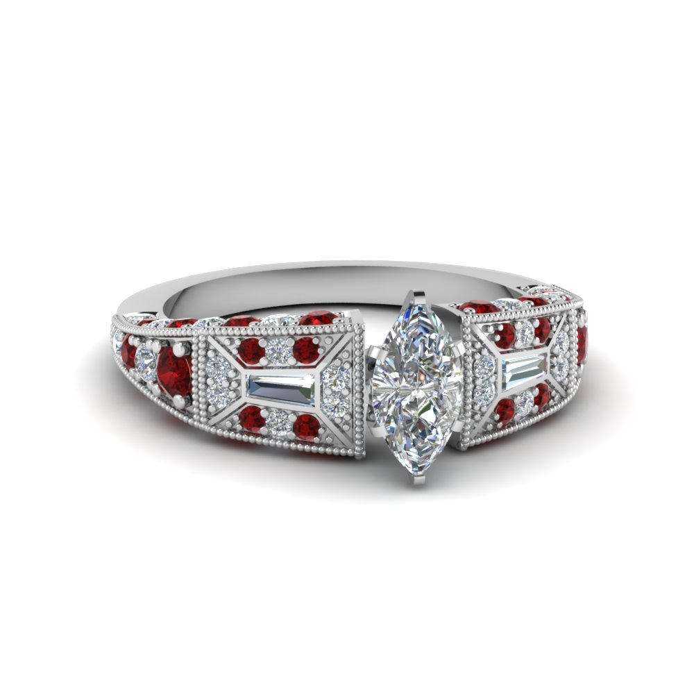 marquise cut victorian vintage style diamond engagement ring with ruby in FDENR8601MQRGRUDR NL WG