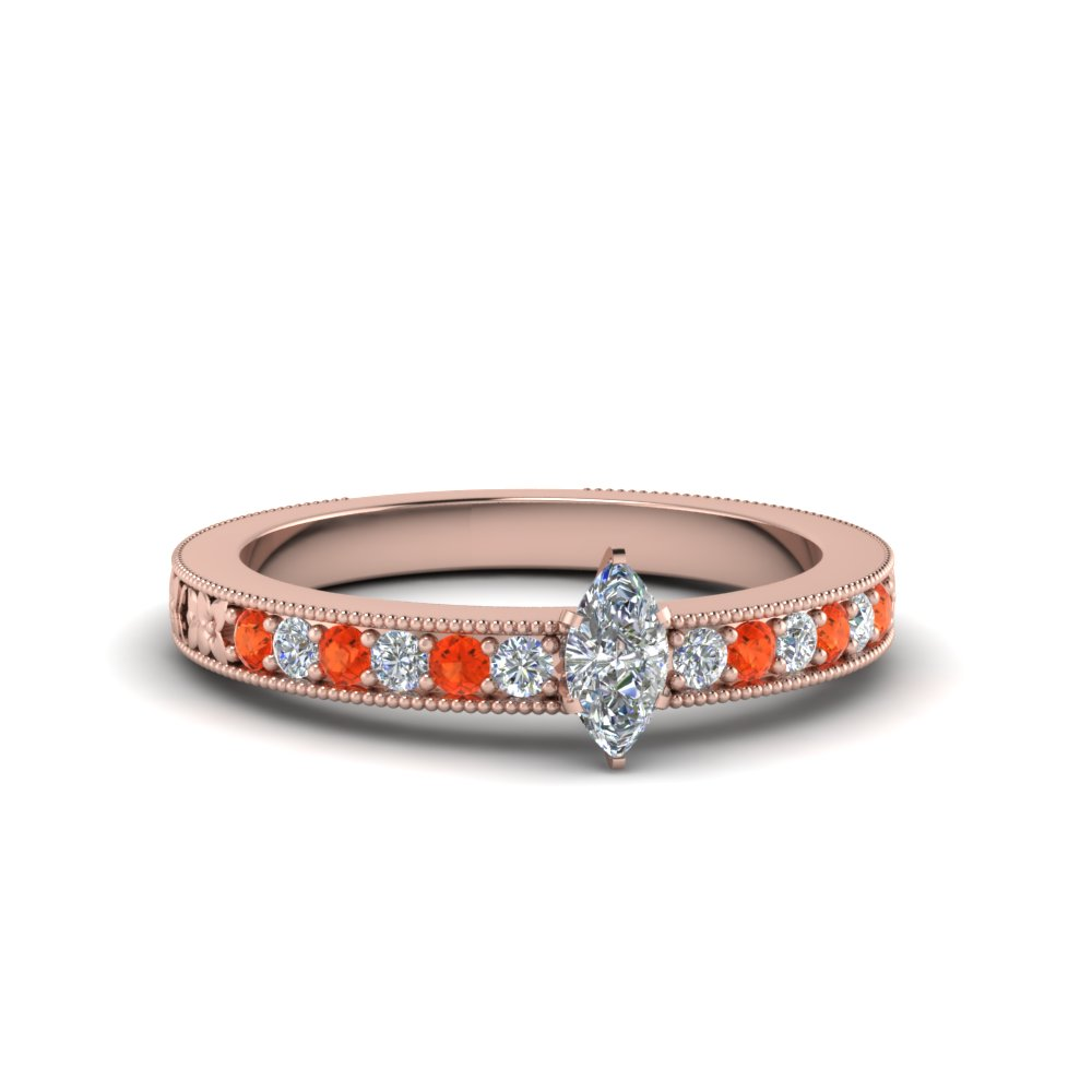 marquise cut pave diamond milgrain engagement ring with poppy topaz in FDENS3516MQRGPOTO NL RG