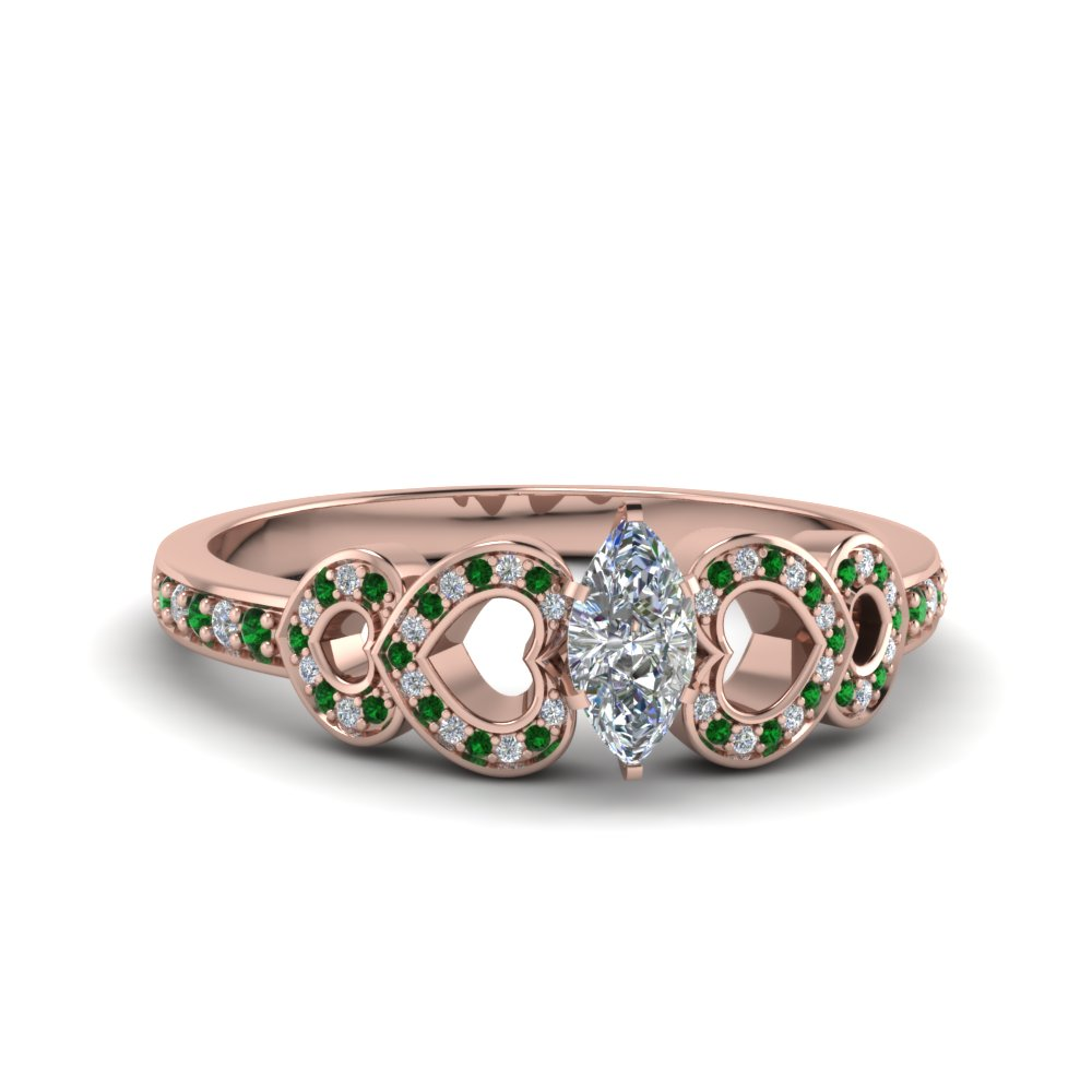Emerald Heart Design Wedding Ring