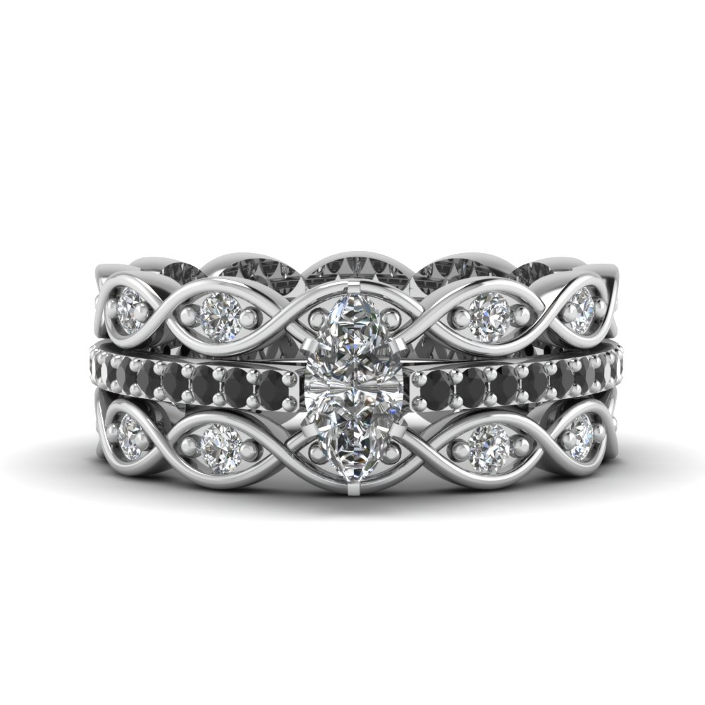pave infinity diamond ring for women marquise shaped diamond trio wedding ring sets with black diamond in 14k white gold - Black Diamond Wedding Rings For Women