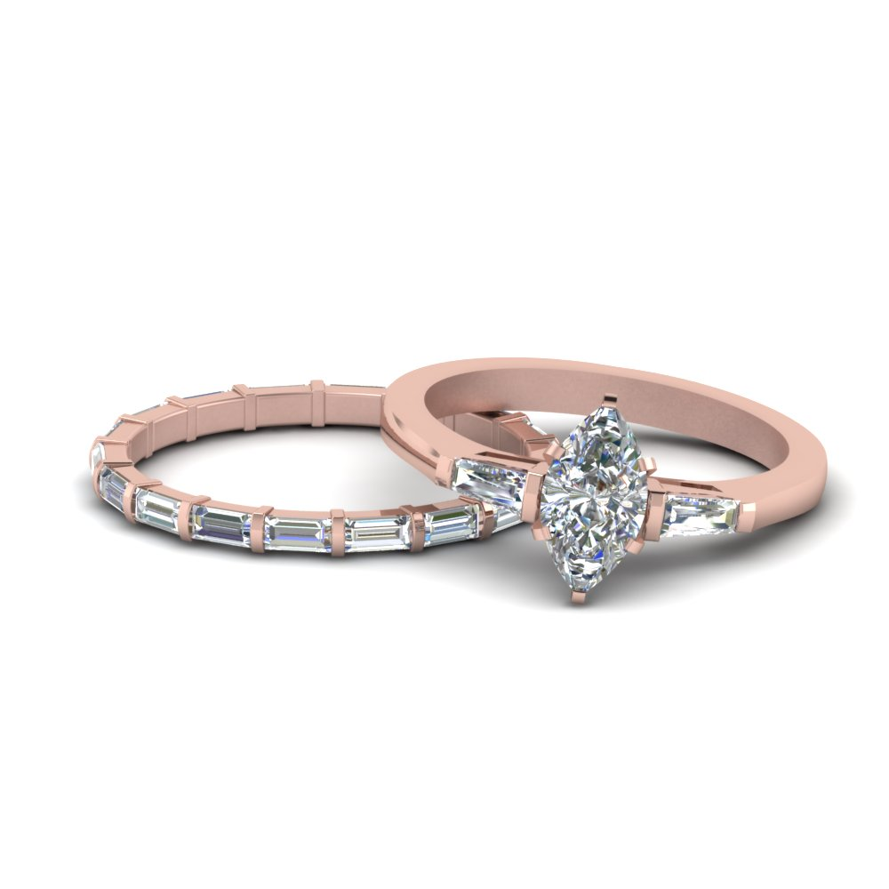 Marquise Cut Baguette Wedding Set