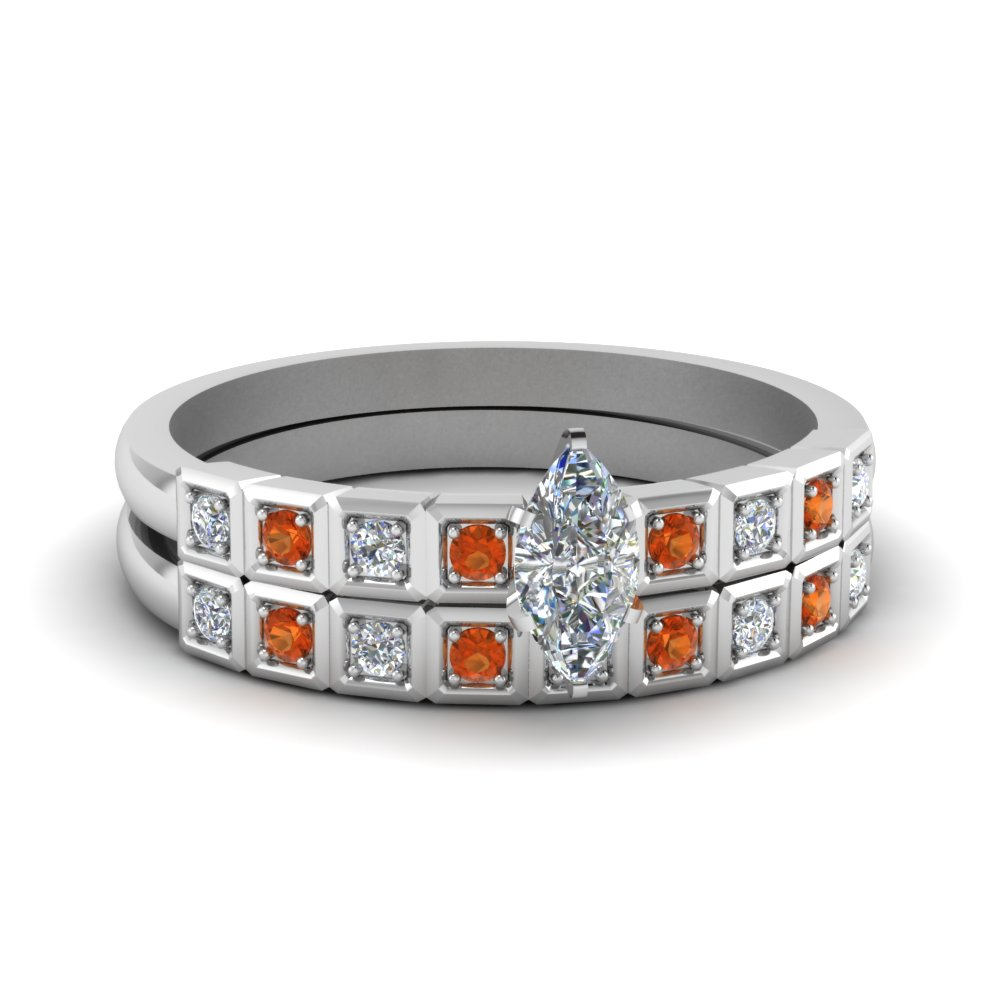 petite block design marquise cut diamond wedding set with orange sapphire in FDENS3047MQGSAOR NL WG