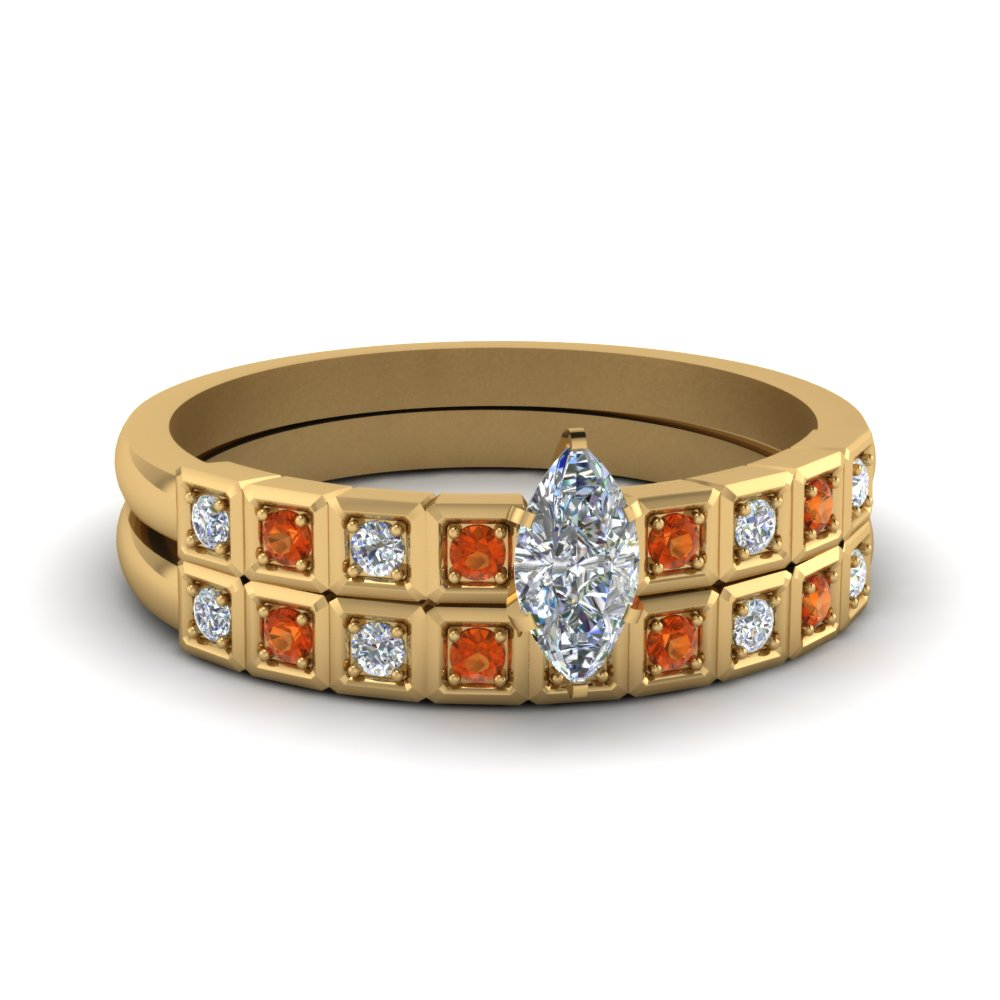 Block Pave Bridal Set With Orange Sapphire