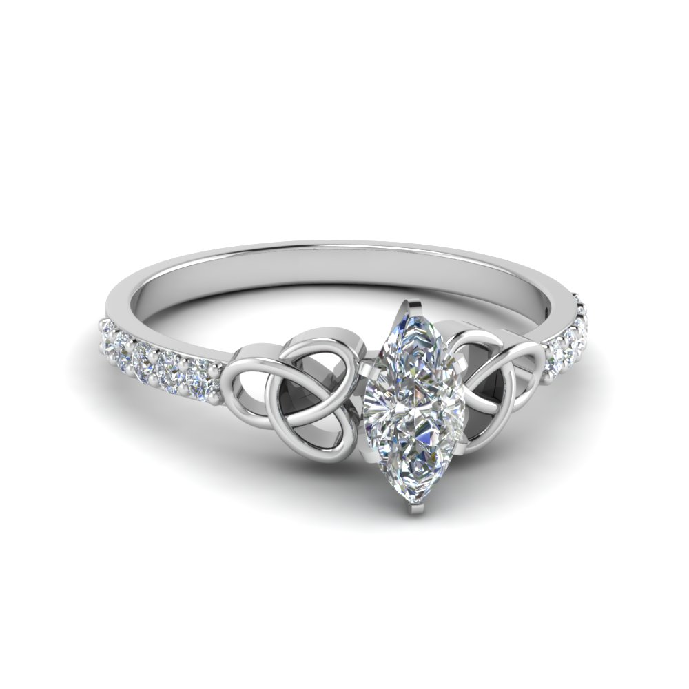 Marquise Cut Diamond Enement Rings | Petite Celtic Marquise Cut Diamond Engagement Ring In 14k White Gold