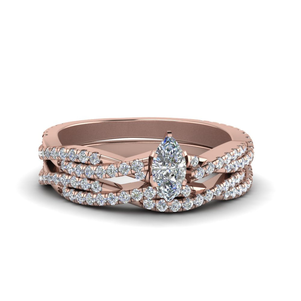 marquise cut simple diamond twisted vine bridal ring set in 14K rose gold FD8233MQ NL RG