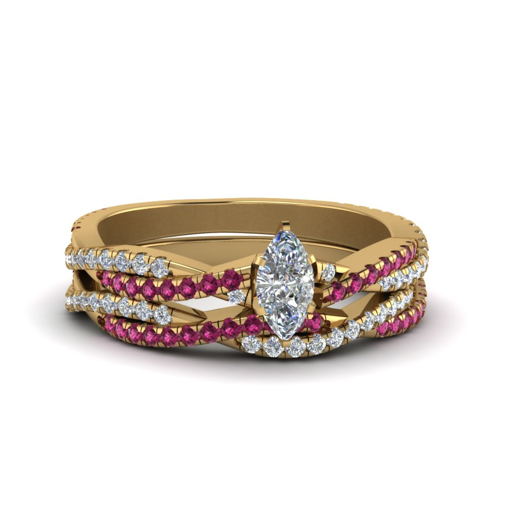 marquise cut simple moissanite twisted vine bridal ring set with pink sapphire in 14K yellow gold FD8233MQGSADRPI NL YG
