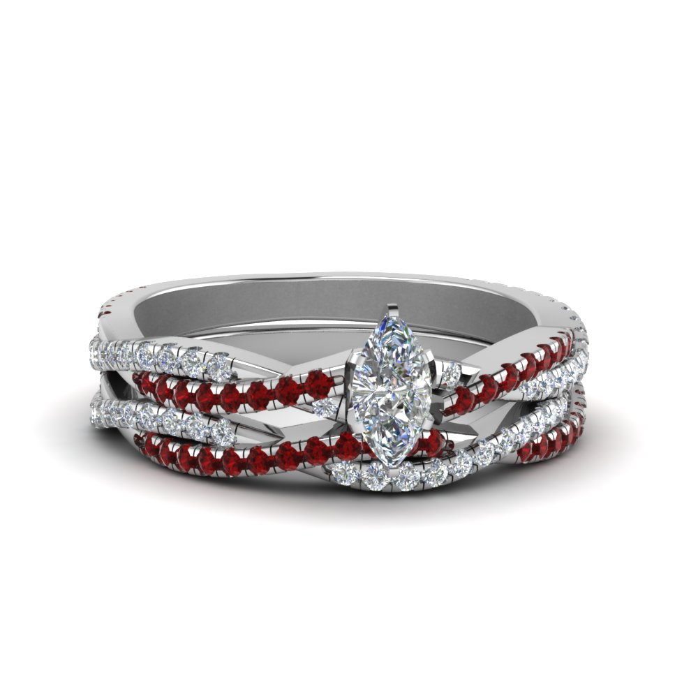 marquise cut simple diamond twisted vine bridal ring set with ruby in 18K white gold FD8233MQGRUDR NL WG