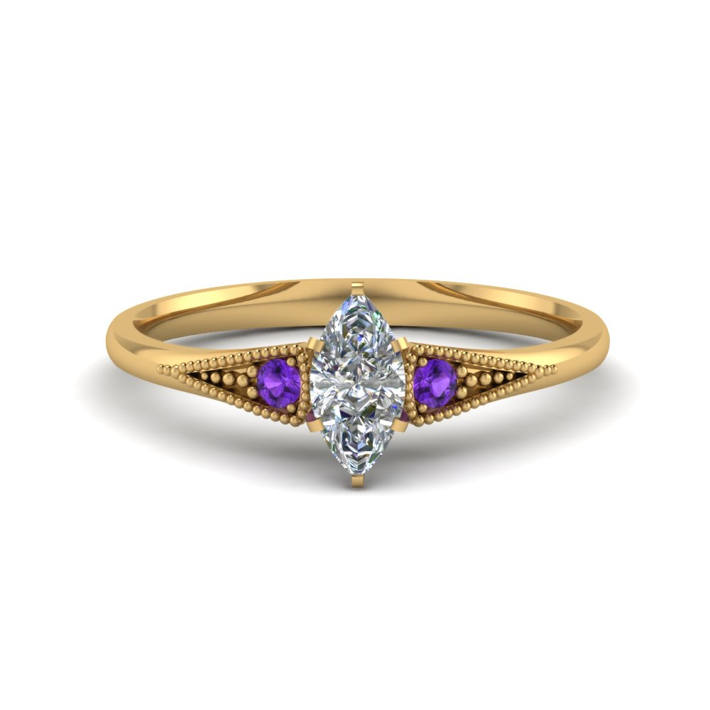 marquise cut small 3 stone diamond milgrain engagement ring with purple topaz in FD8073MQRGVITO NL YG