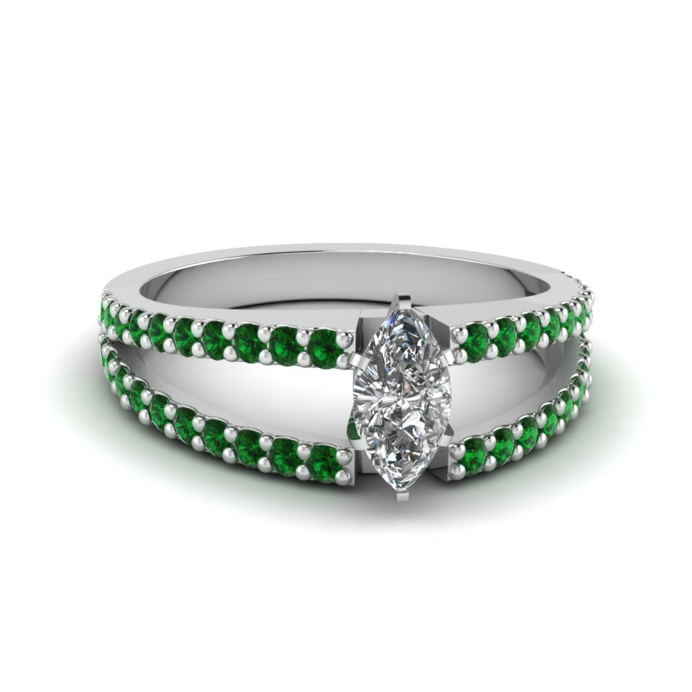 Natural Emerald Engagement Ring