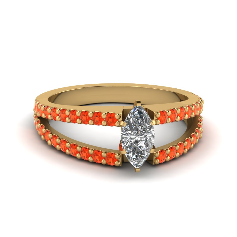 marquise cut split band gemstone with diamond engagement ring with poppy topaz in FDENR8335MQRGPOTO NL YG GS