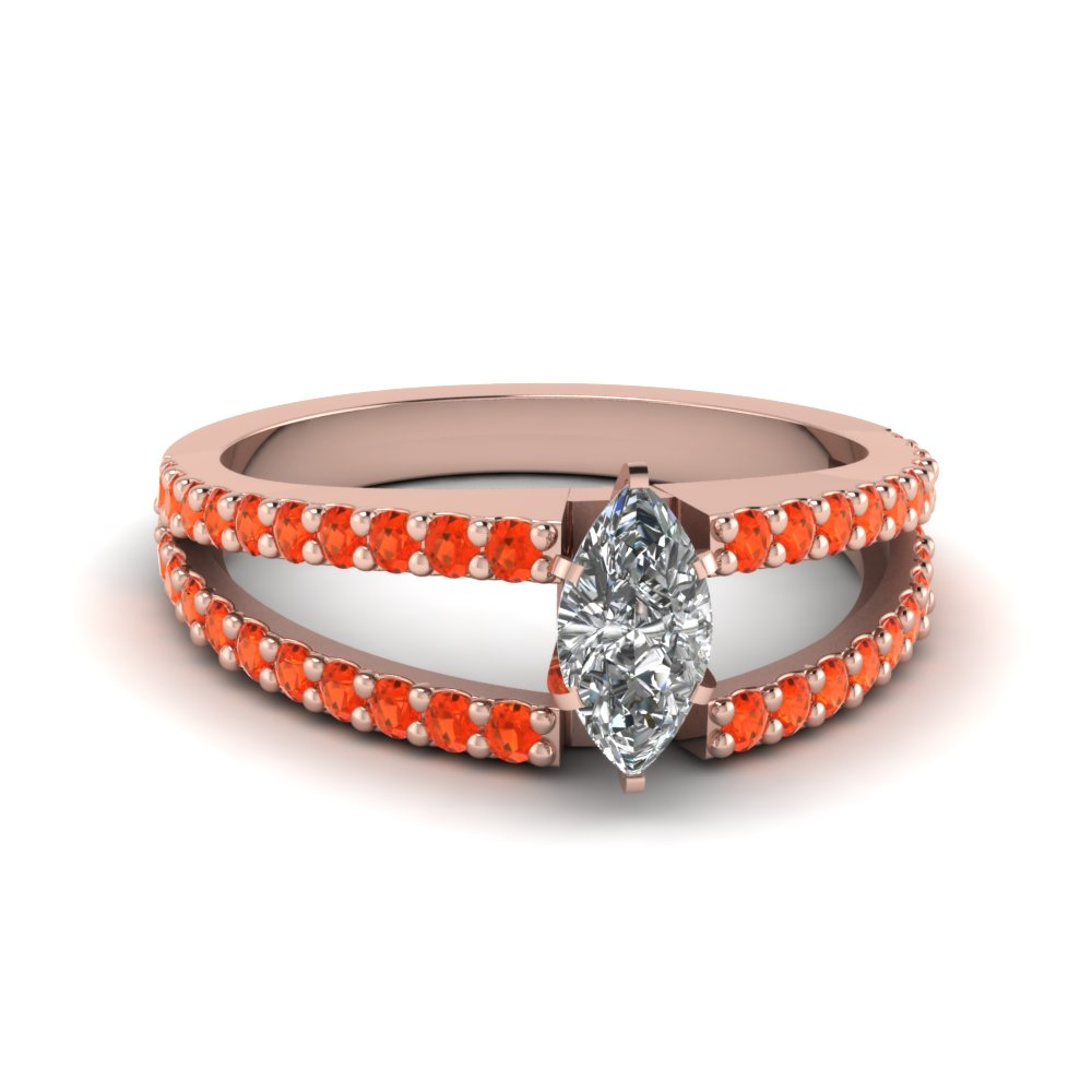 marquise cut split band gemstone with diamond engagement ring with poppy topaz in FDENR8335MQRGPOTO NL RG GS