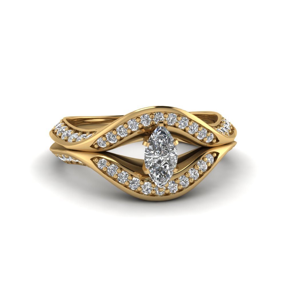 Gold Marquise Halo Engagement Rings