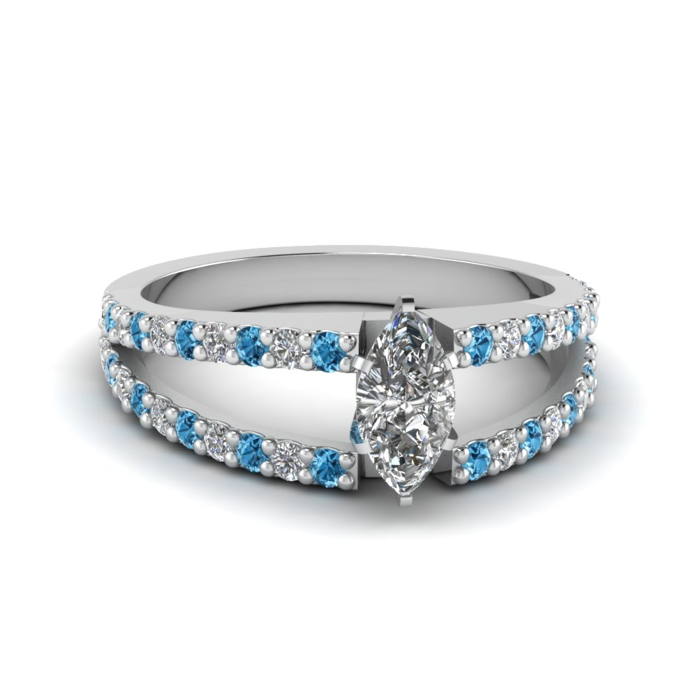 marquise cut split double band diamond engagement ring with ice blue topaz in FDENR8335MQRGICBLTO NL WG