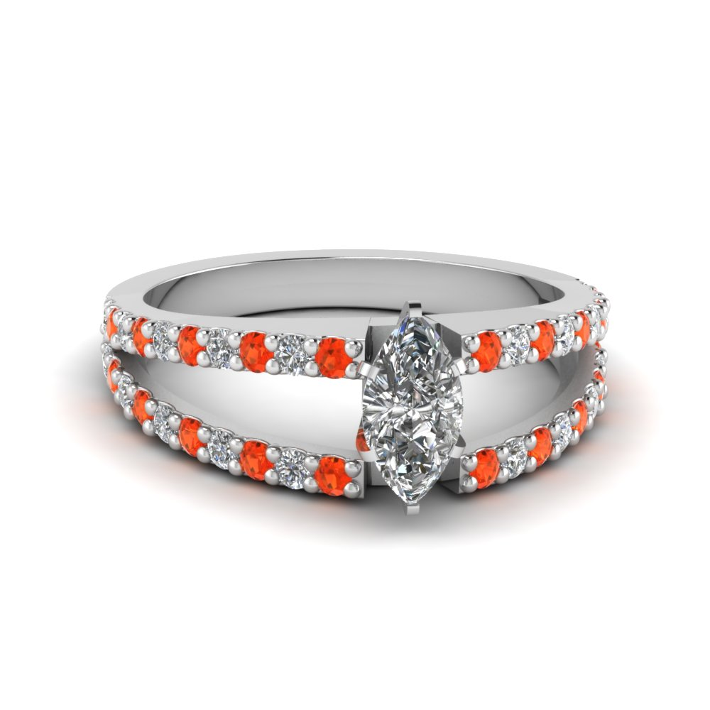 marquise cut split double band diamond engagement ring with poppy topaz in FDENR8335MQRGPOTO NL WG