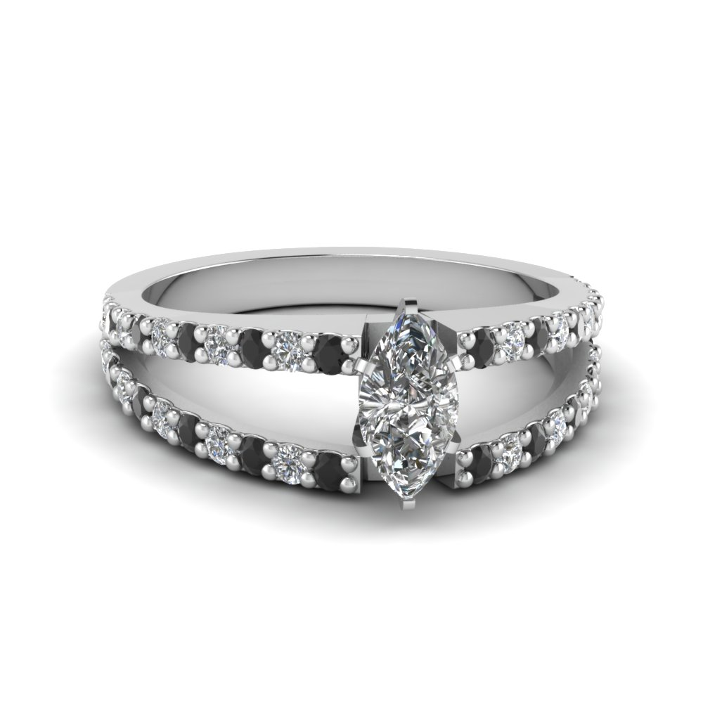 marquise cut split double band engagement ring with black diamond in FDENR8335MQRGBLACK NL WG