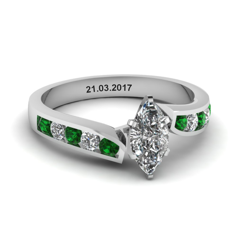 346c5cbd2a6fbd unique swirl marquise diamond engagement ring with emerald in  FDENR1115MQRGEMGR NL WG EG