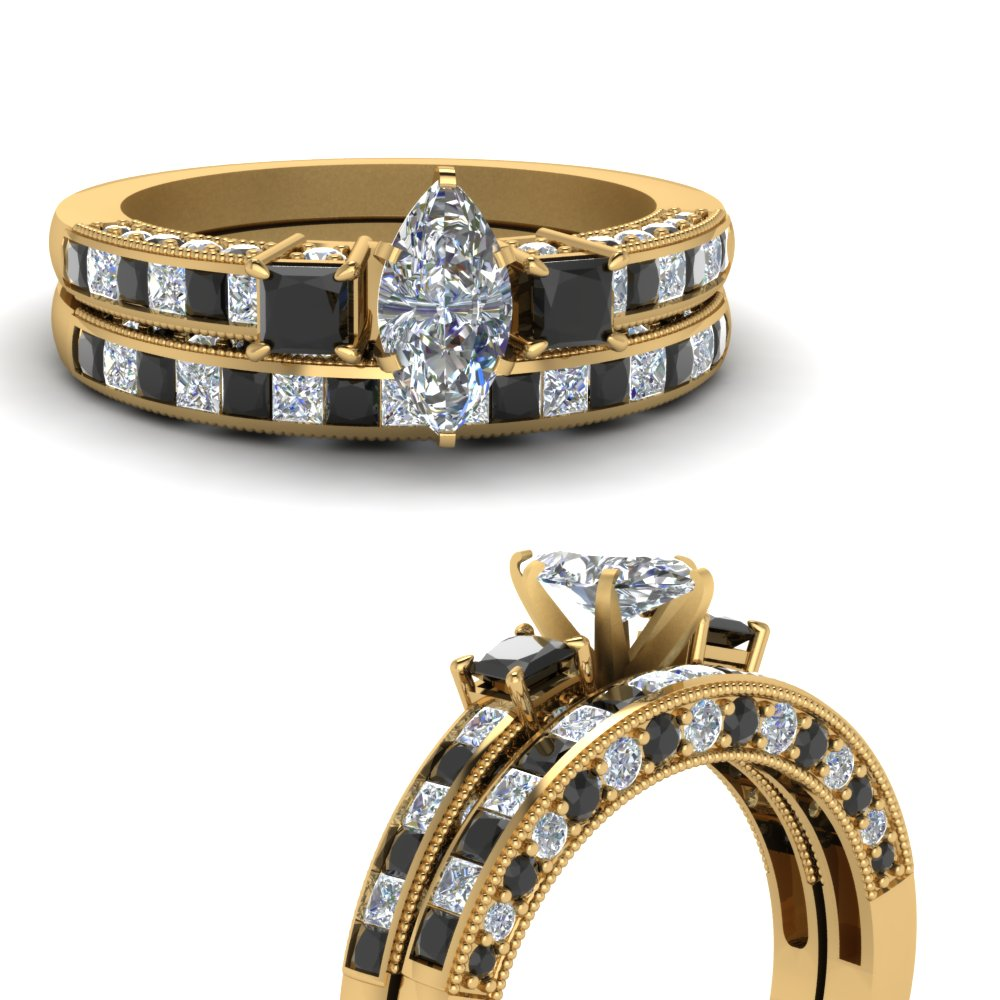 marquise-cut-three-stone-channel-bridal-set-with-black-diamond-in-18K-yellow-gold-FDENS1186MQGBLACKANGLE3-NL-YG
