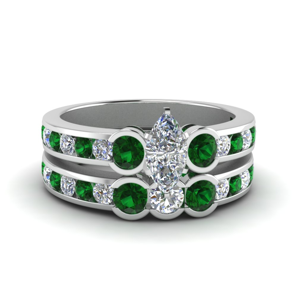 White Gold Emerald Wedding Set