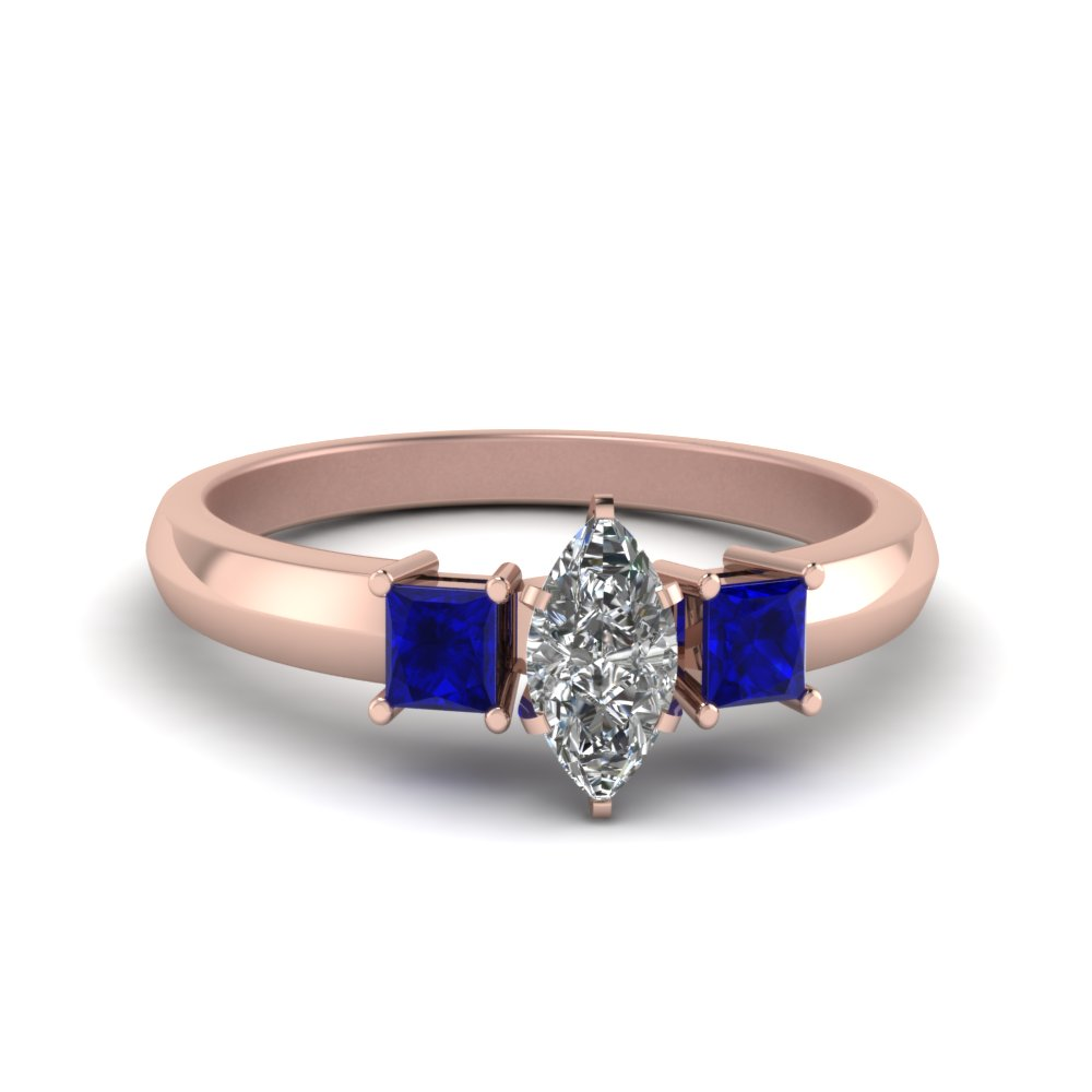 marquise cut glossy basket moissanite engagement ring 3 stone with sapphire in FDENR264MQRGSABL NL RG