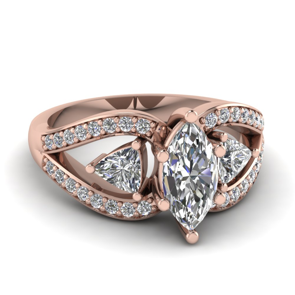 Marquise Cut Trillion Antique 3 Stone Engagement Ring In 14K Rose Gold