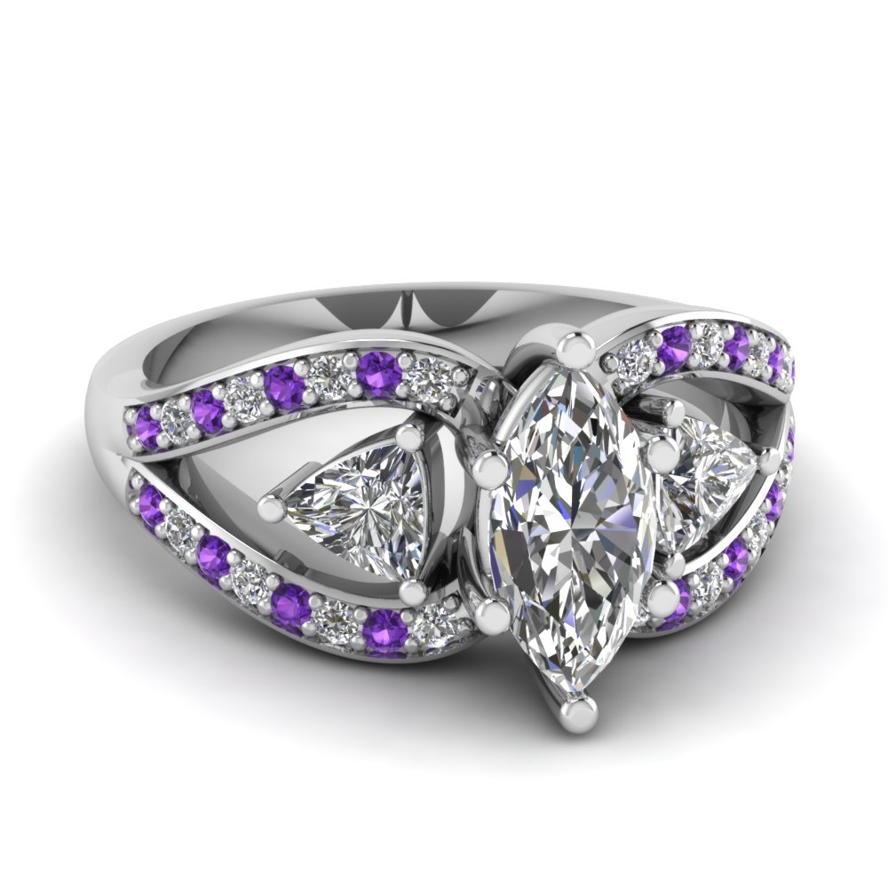 unique rings in royal center custommade knot purple amethyst stone trinity this for makes ring engagement com a delicate