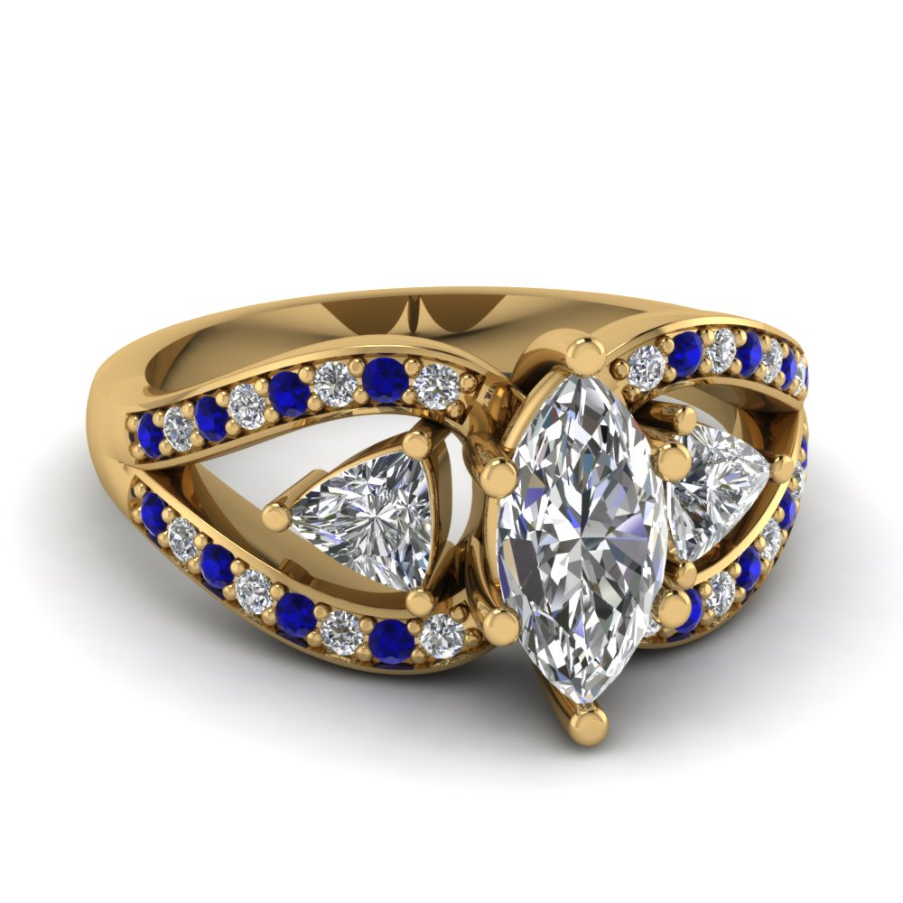 marquise cut trillion antique 3 stone engagement ring with sapphire in FD71589MQRGSABL NL YG