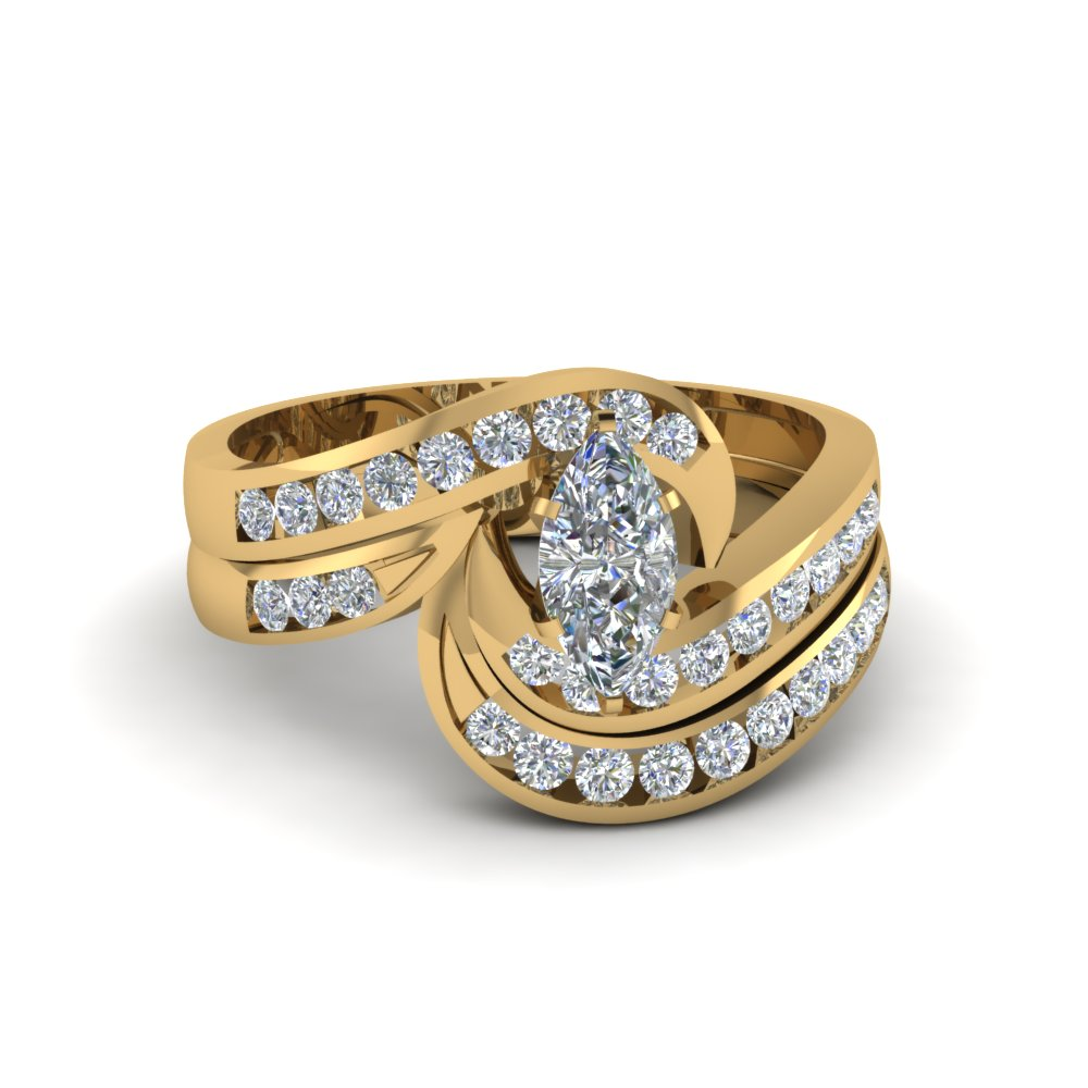 Twist Channel Set Diamond Wedding Set