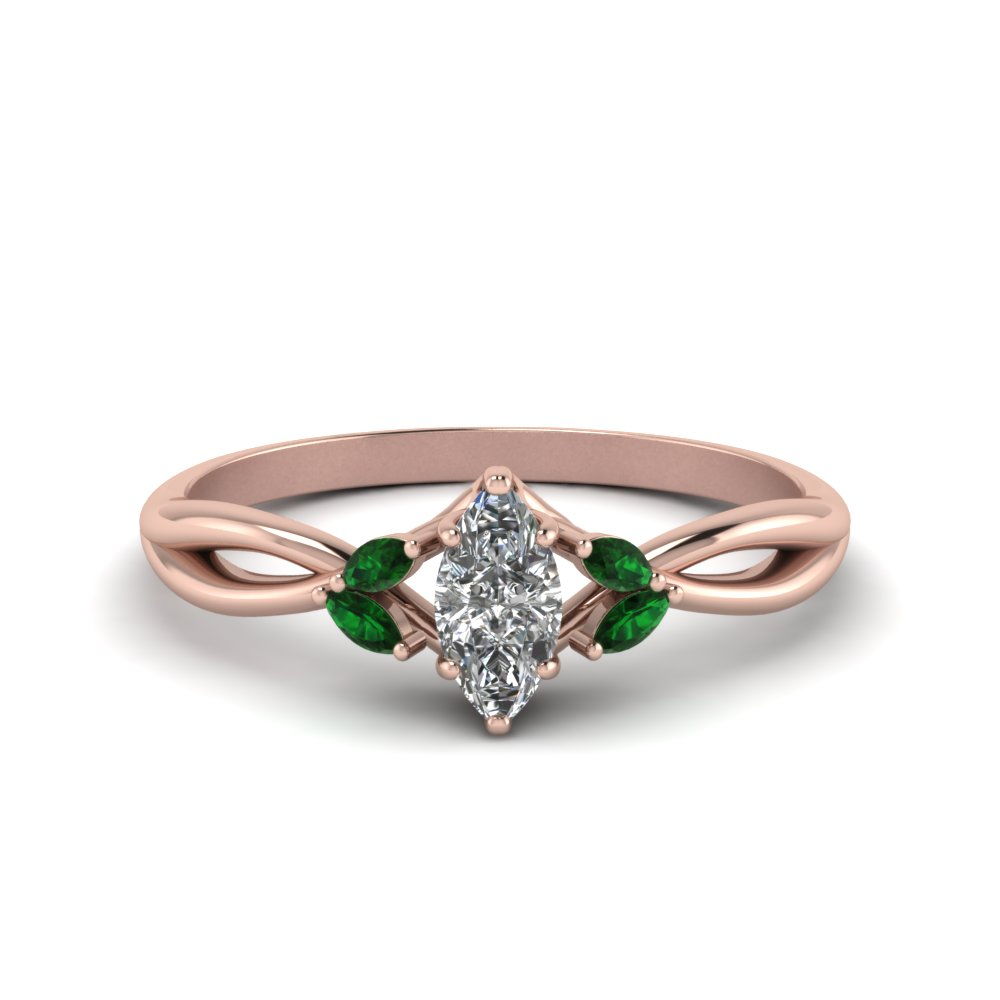 Twisted Marquise Cut Diamond Ring In 14K Rose Gold