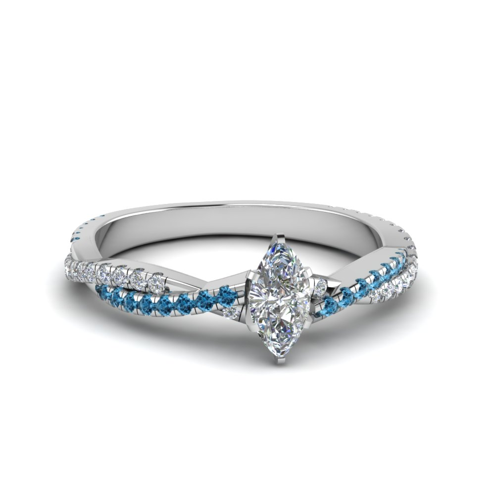 marquise cut twisted vine diamond engagement ring for women with ice blue topaz in 14K white gold FD8233MQRGICBLTO NL WG
