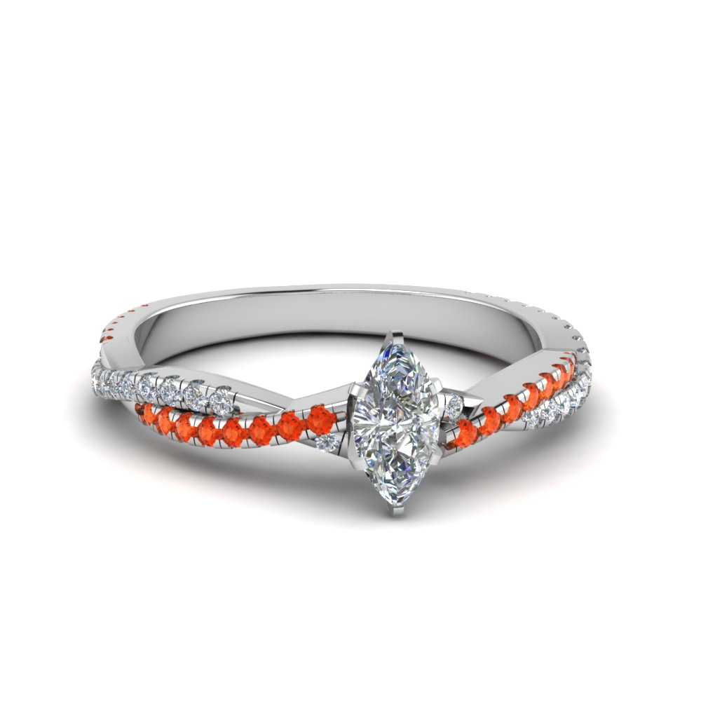 marquise cut twisted vine diamond engagement ring for women with poppy topaz in 18K white gold FD8233MQRGPOTO NL WG