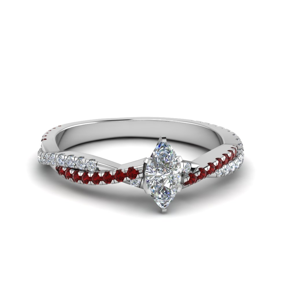 marquise cut twisted vine diamond engagement ring for women with ruby in 14K white gold FD8233MQRGRUDR NL WG