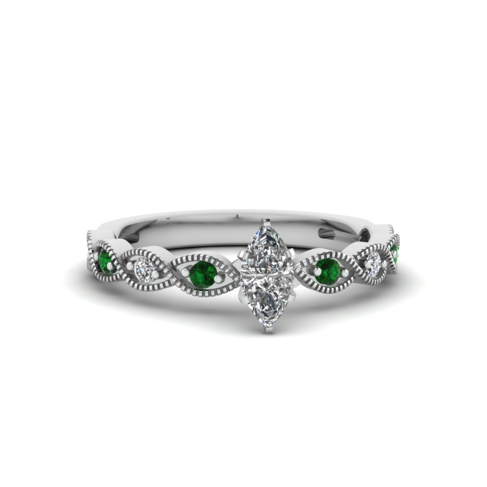 marquise cut twisted vintage diamond engagement ring with emerald in 18K white gold FDENS3052MQRGEMGR NL WG