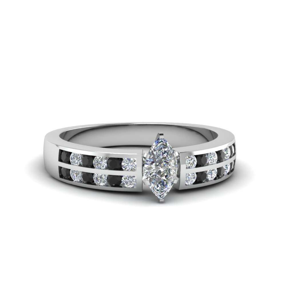 marquise cut two row channel ring with black diamond in 950 Platinum FDENS3119MQRGBLACK NL WG