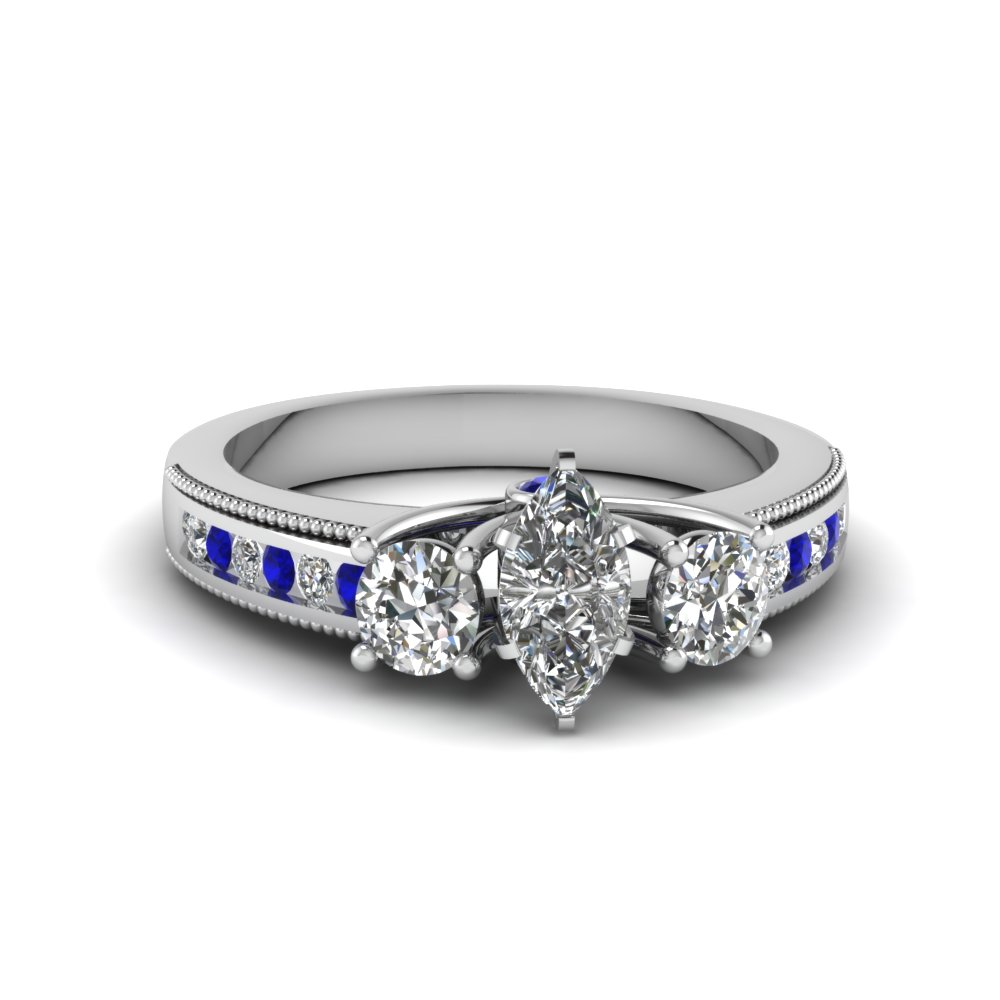 3 stone milgrain marquise diamond engagement ring with sapphire in FDENR7325MQRGSABL NL WG