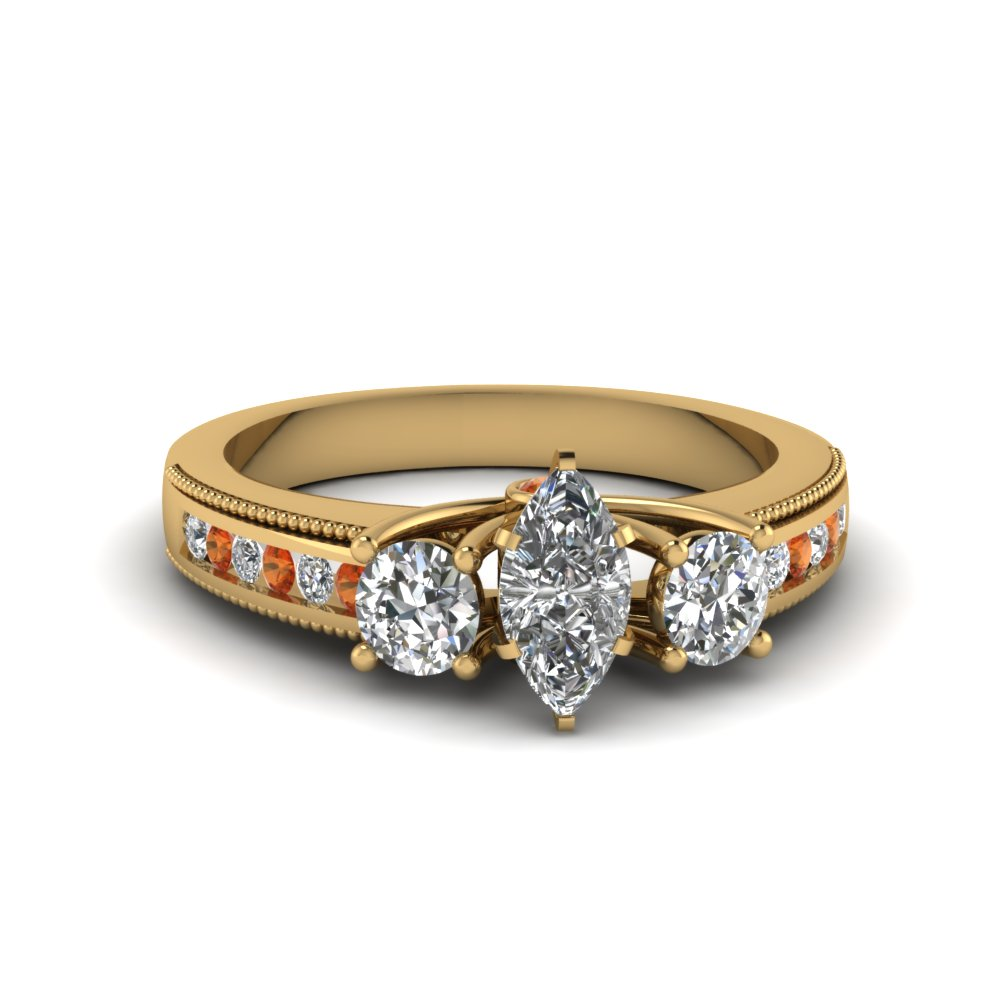 3 stone milgrain marquise diamond engagement ring with orange sapphire in FDENR7325MQRGSAOR NL YG