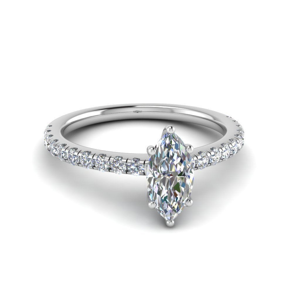 U Prong Marquise Diamond Ring