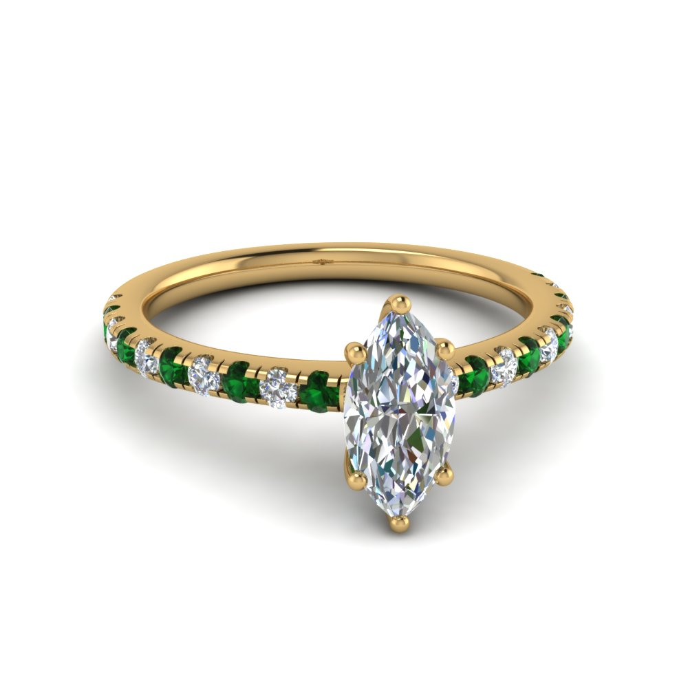 marquise cut u prong diamond engagement ring with emerald in FD8362MQRGEMGR NL YG