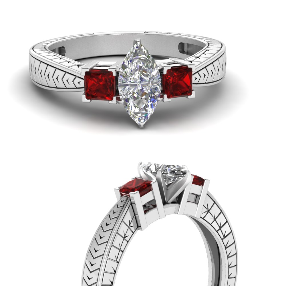 marquise cut vintage 3 stone engagement ring with ruby in FDENR1194MQRGRUDRANGLE3 NL WG