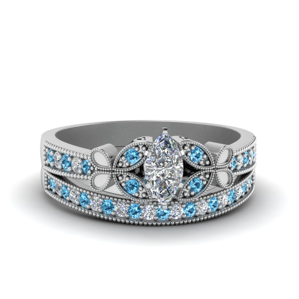 vintage butterfly marquise diamond engagement ring set with blue topaz in FDENS3077MQGICBLTO NL WG