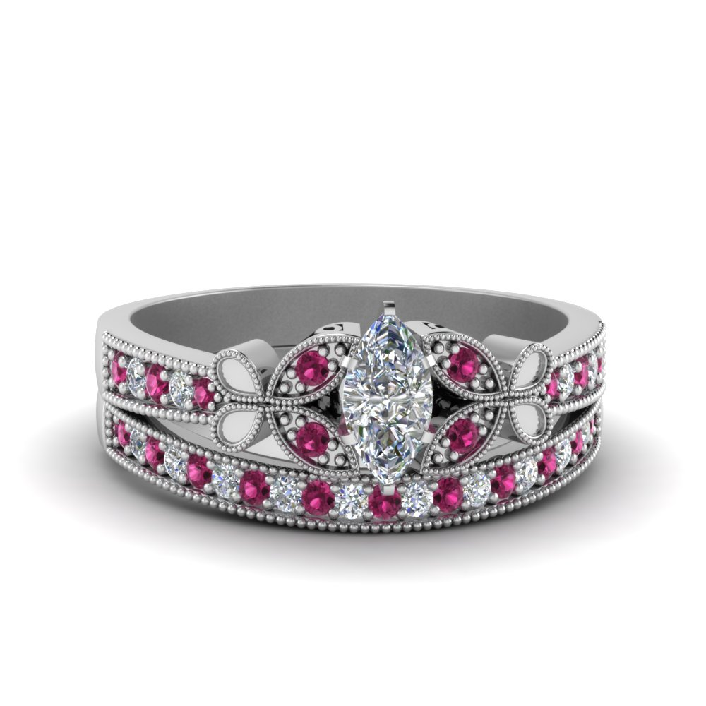 Engagement Ring Sets Marquise Shaped Diamond Wedding With Pink Sapphire In 14K White Gold 1486 Setting Center Stone