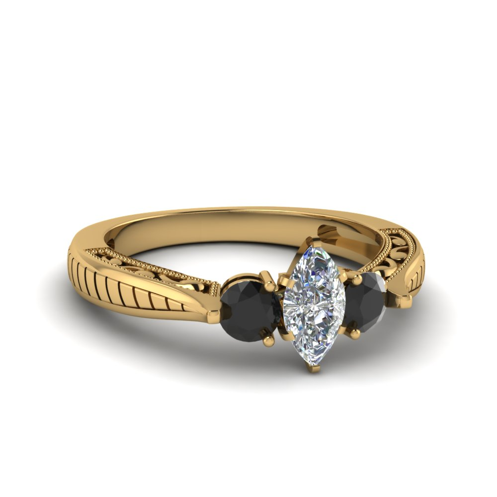 marquise cut vintage style three stone engagement ring with black diamond in 14K yellow gold FDENR1814MQRGBLACK NL YG
