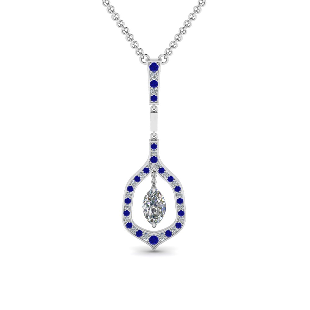 marquise diamond drop pendant with sapphire in FDPD8489MQGSABL NL WG