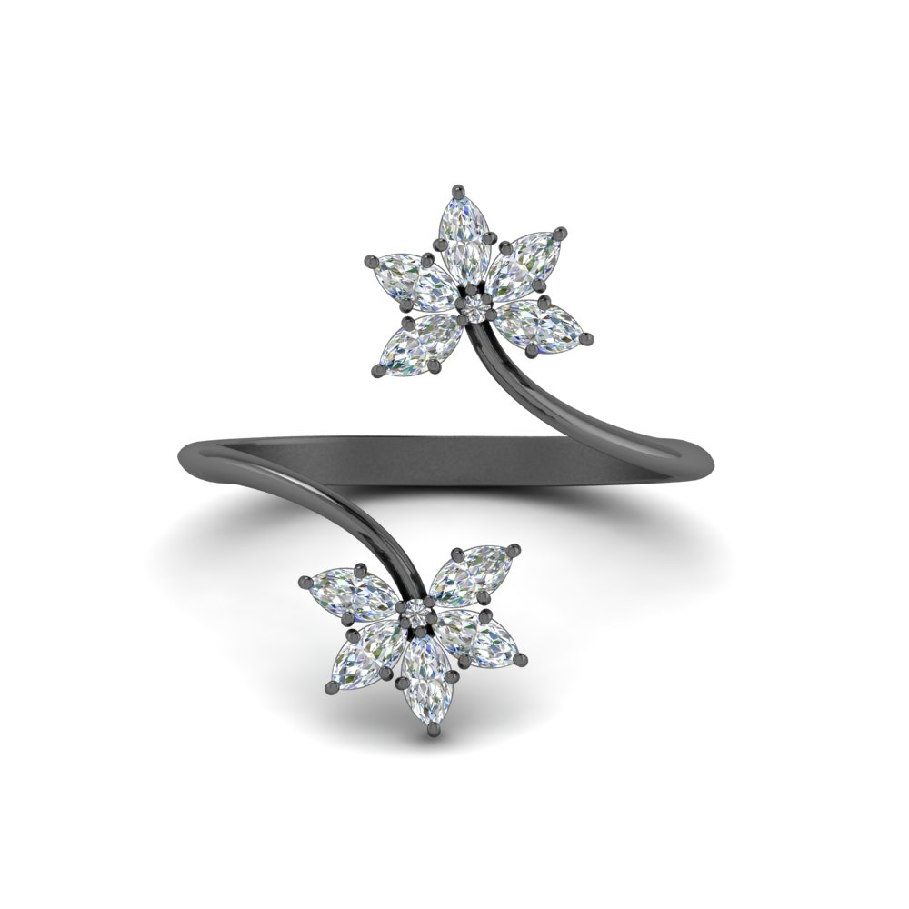 marquise diamond flower open ring in FD8600MQR NL BG