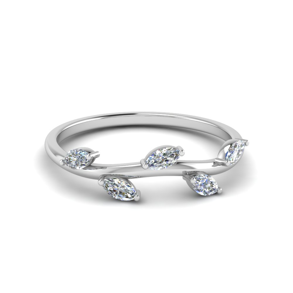 18K White Gold Marquise Shaped White Diamond Wedding Band ...
