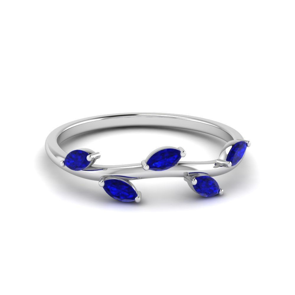 marquise leaf band blue sapphire in 14K white gold FD122971BGSABL NL WG