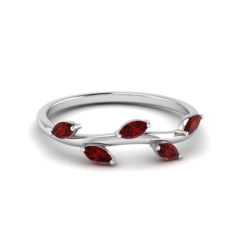 marquise leaf band ruby in 14K white gold FD122971BGRUDR NL WG