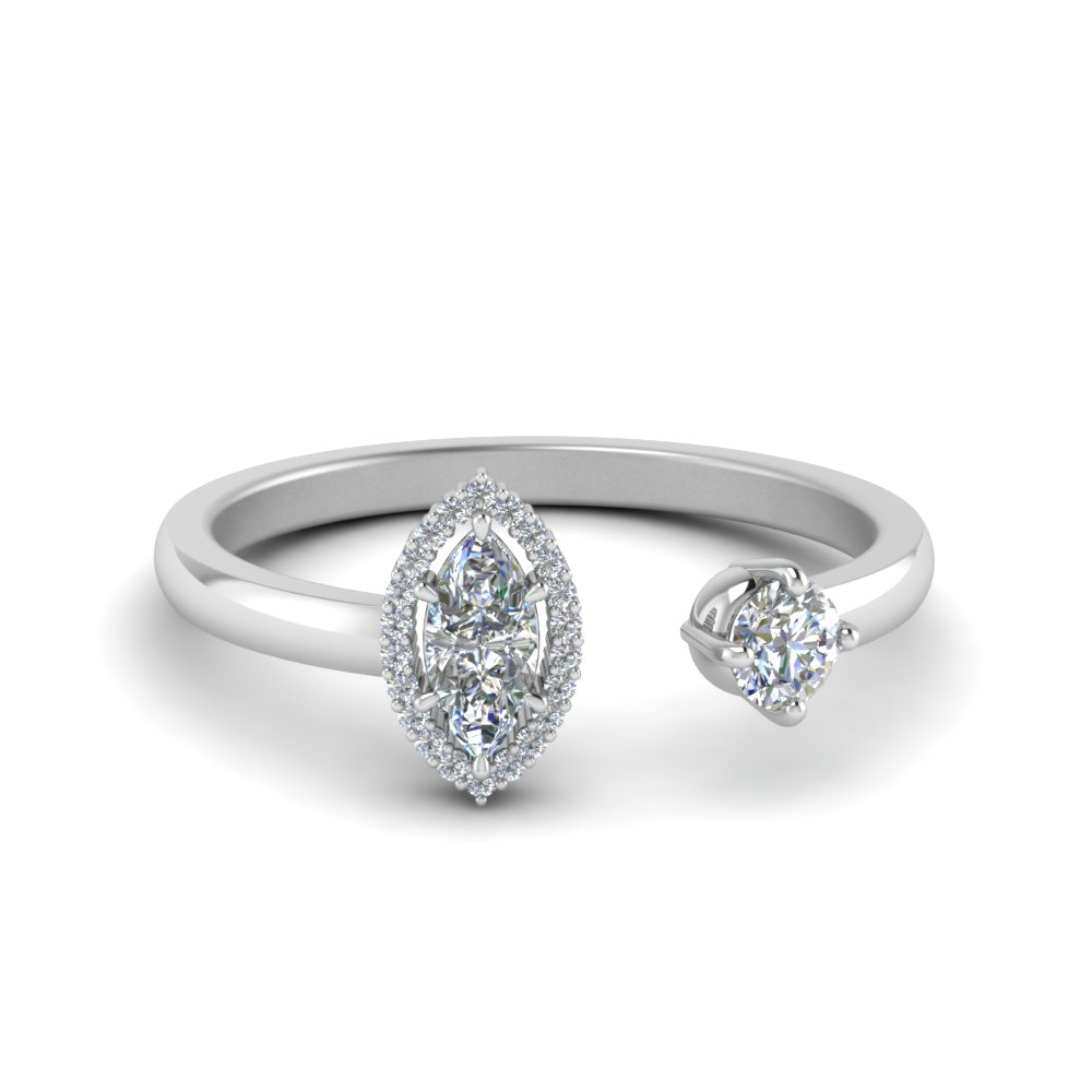Marquise Diamond Open Engagement Ring In 14K White Gold